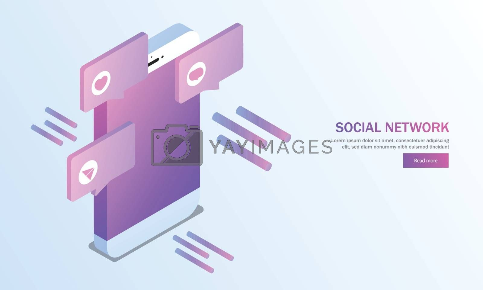 Royalty free image of Isometric smartphone with social media applications on shiny blu by aispl