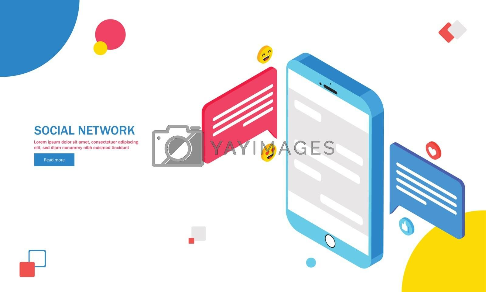 Royalty free image of Isometric smartphone with messaging icons and emoji on abstract  by aispl