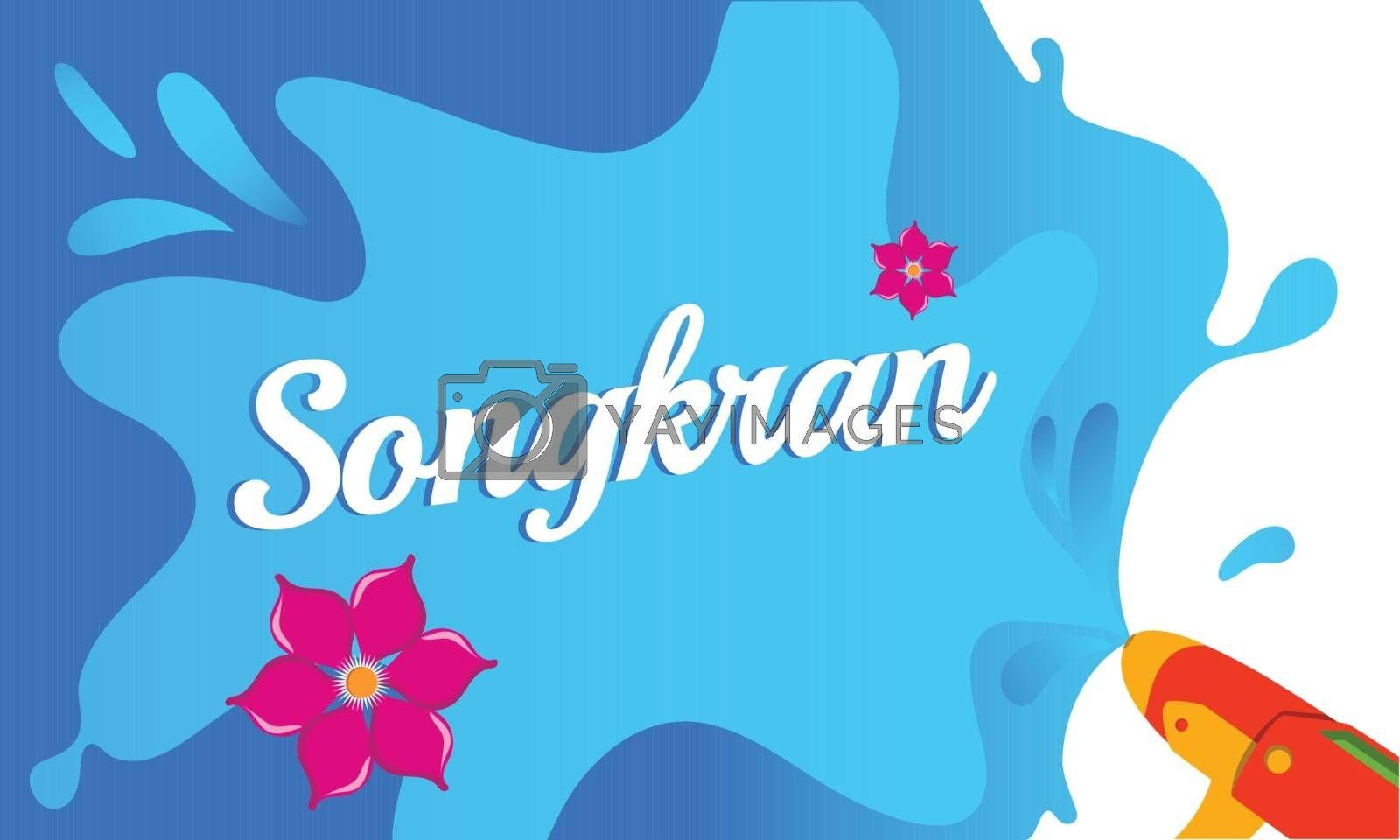 Royalty free image of Stylish text Songkran on colorful background, festival of water  by aispl