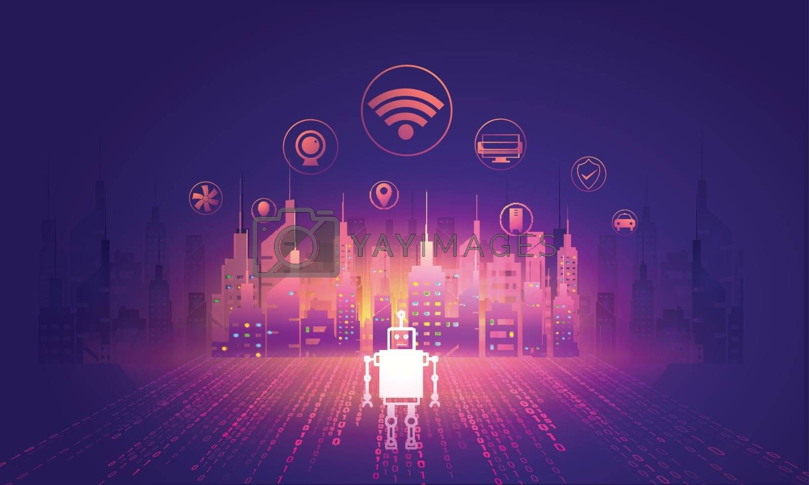 Royalty free image of Digital and technology concept of Smart City, illustration of sk by aispl