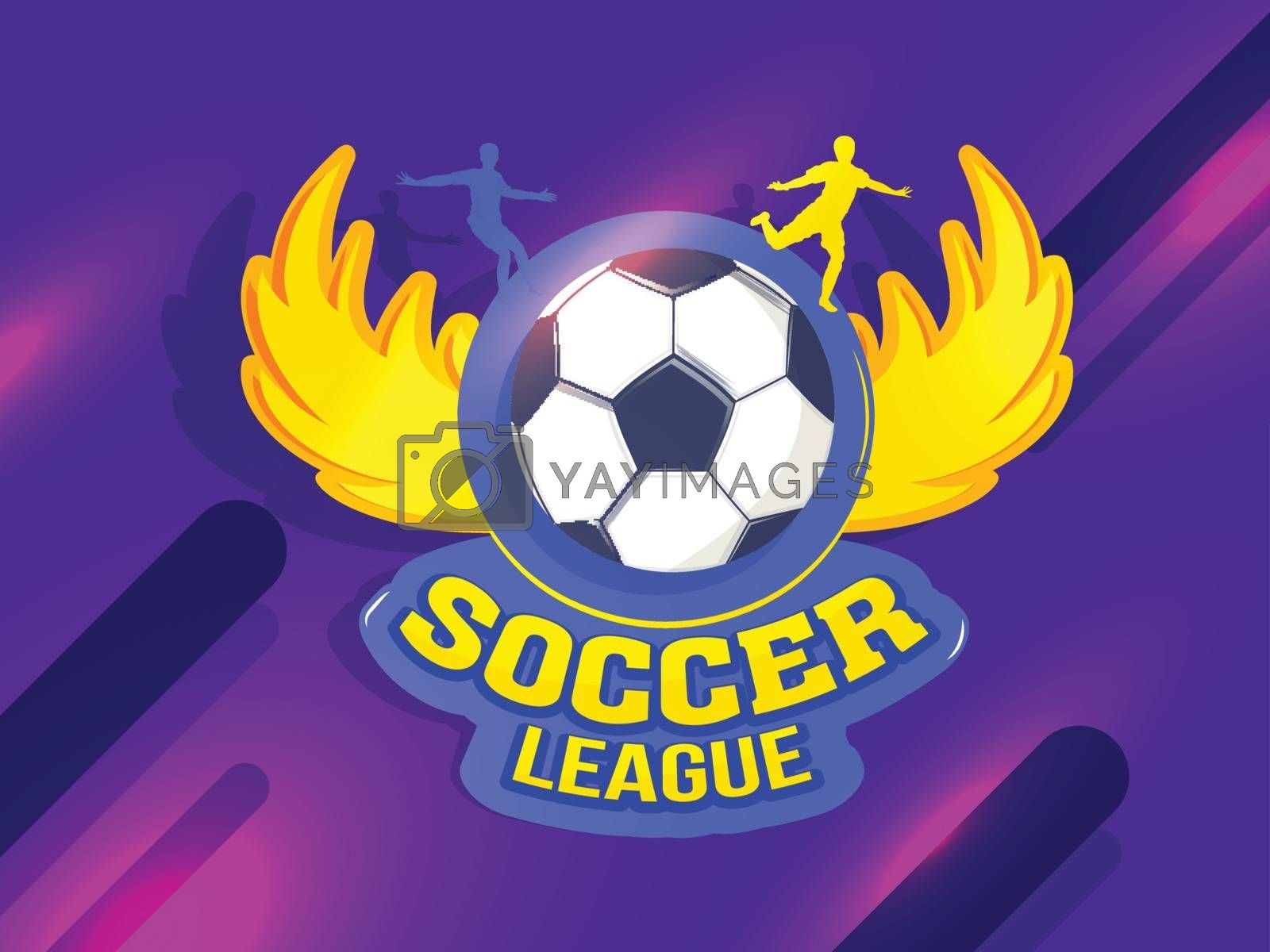 Royalty free image of Soccer badge with silhouette of players on abstract purple backg by aispl