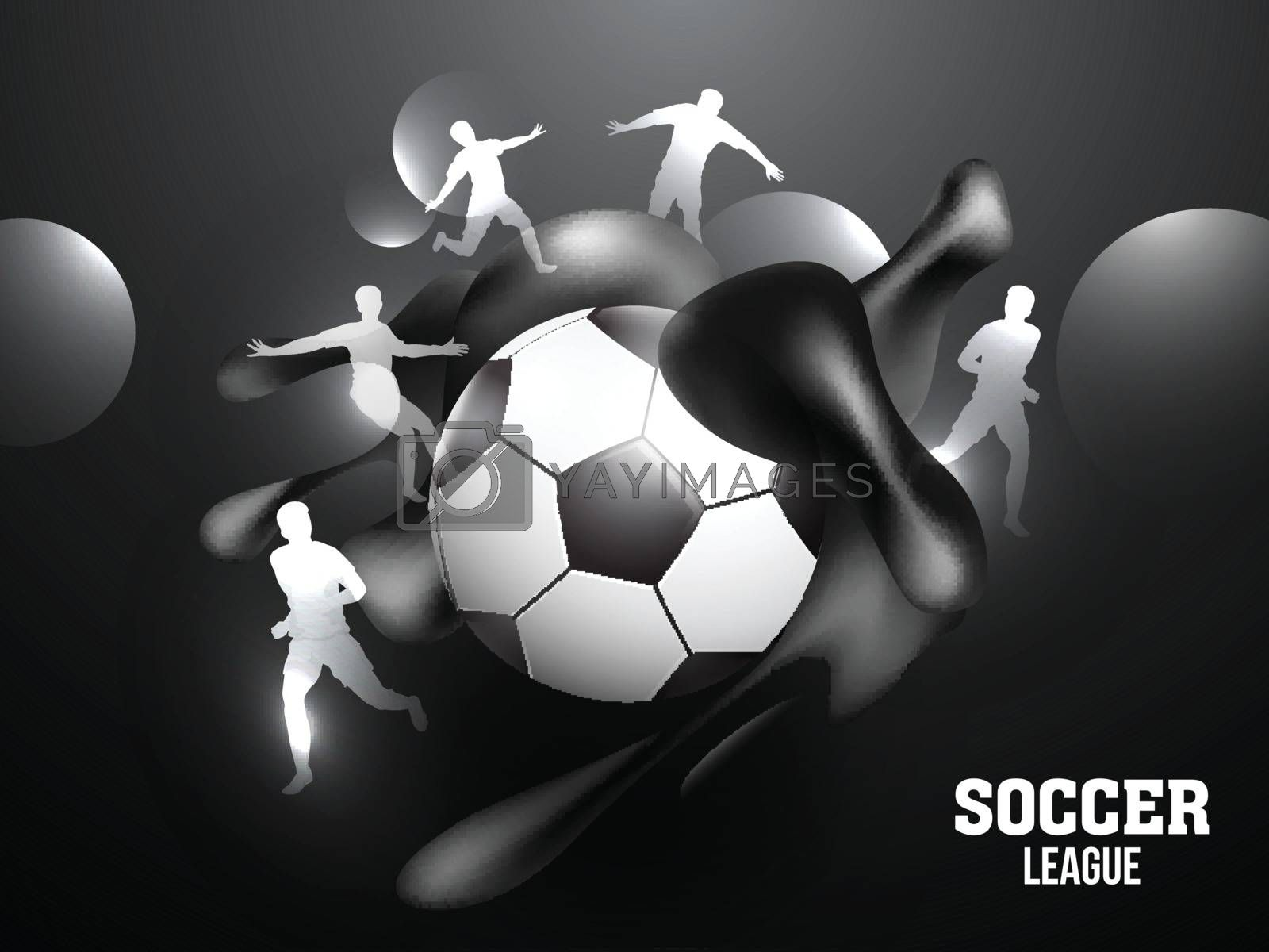 Royalty free image of Soccer League banner or poster design with soccer ball and silho by aispl