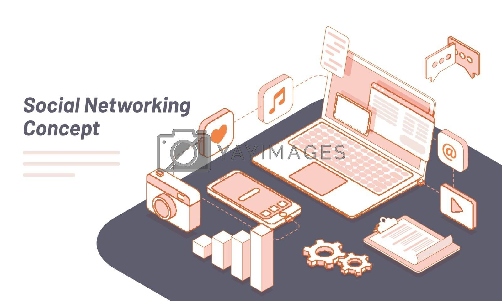 Royalty free image of Isometric illustration of workspace with laptop, smartphone and  by aispl