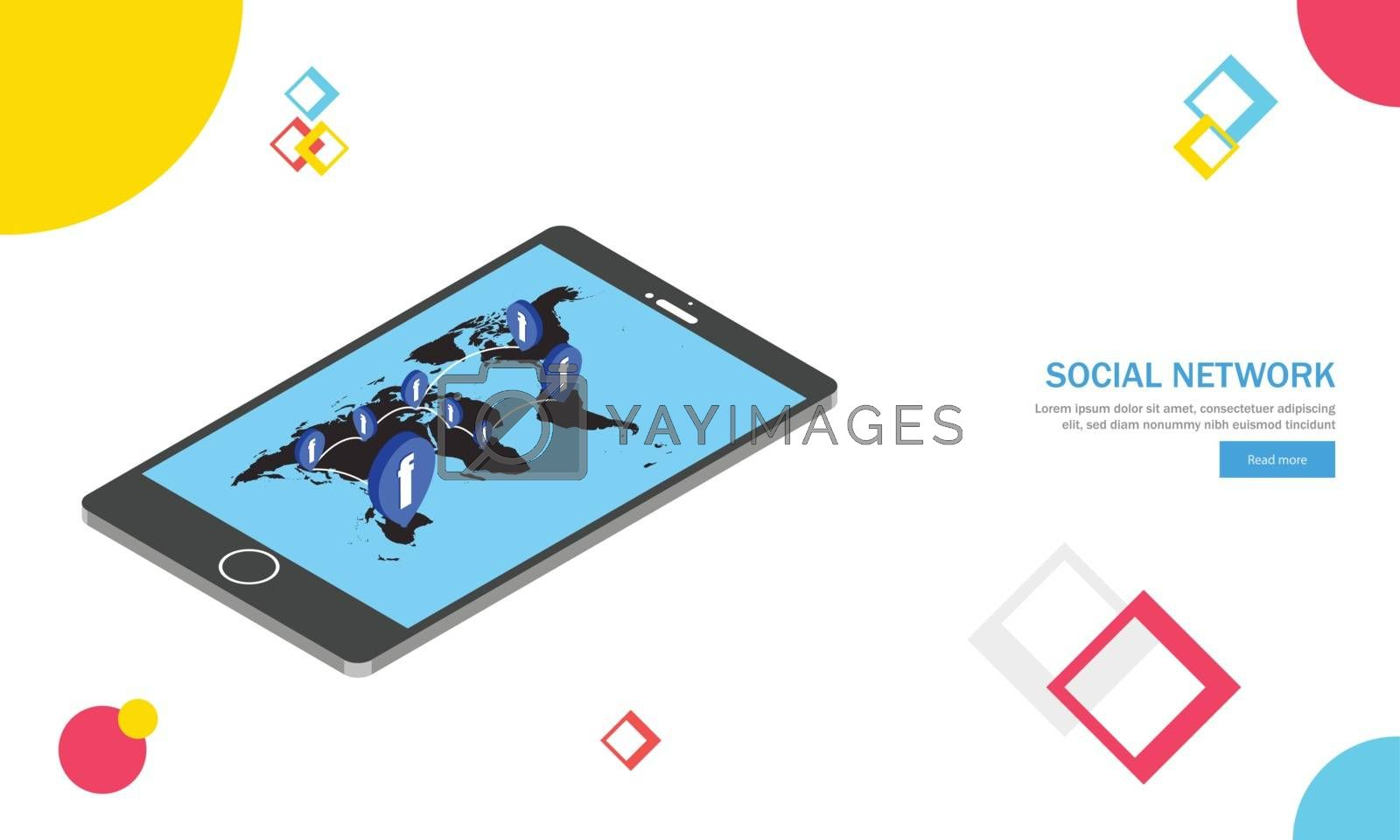 Royalty free image of Isometric smartphone with world map, multiple users belong to ot by aispl