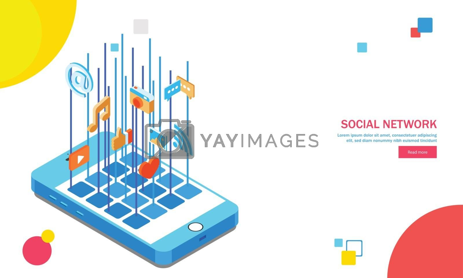 Royalty free image of Multiple social media application on isometric smartphone screen by aispl