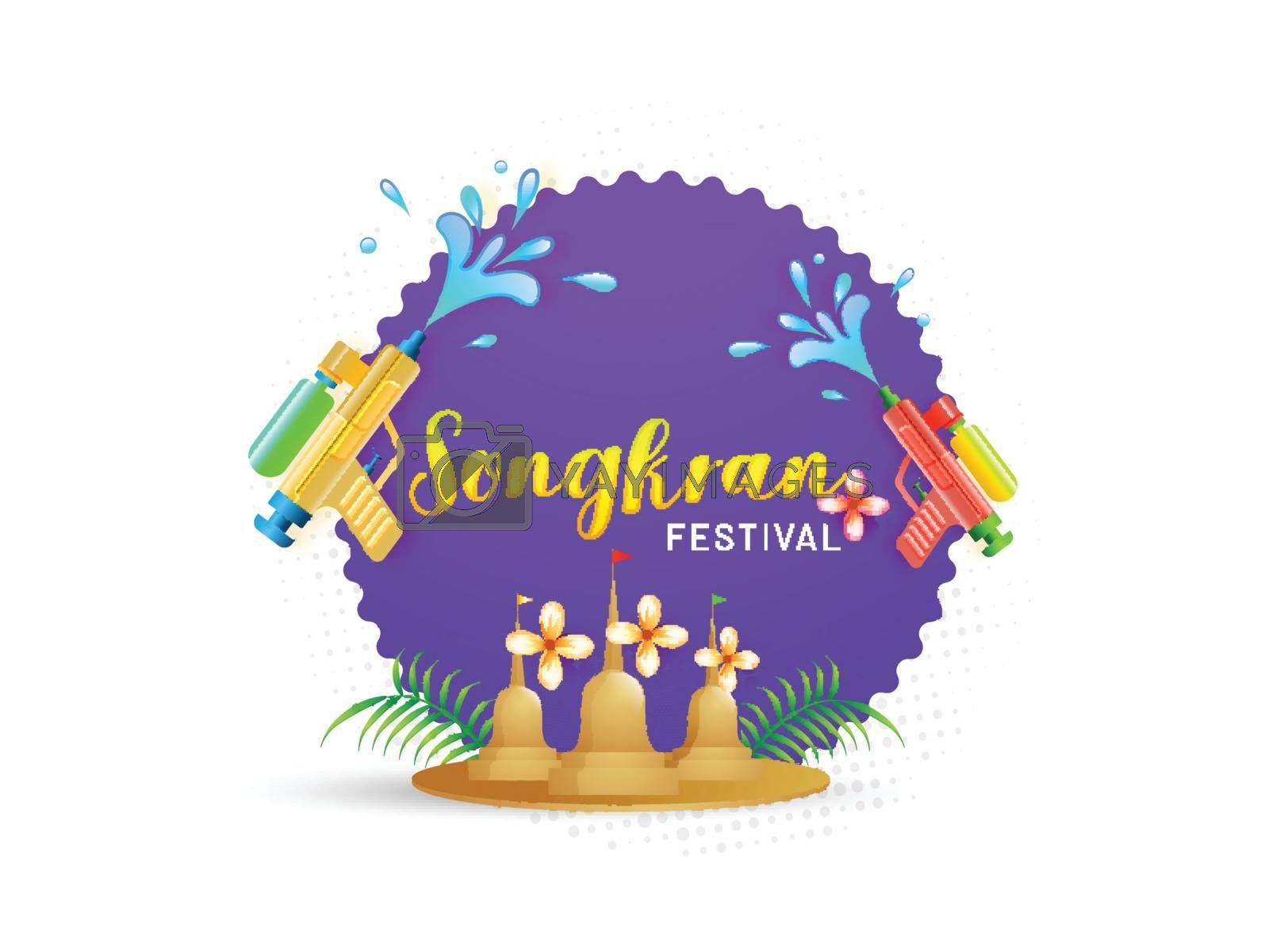 Royalty free image of Stylish text of Songkran Festival poster or flyer design  on pur by aispl