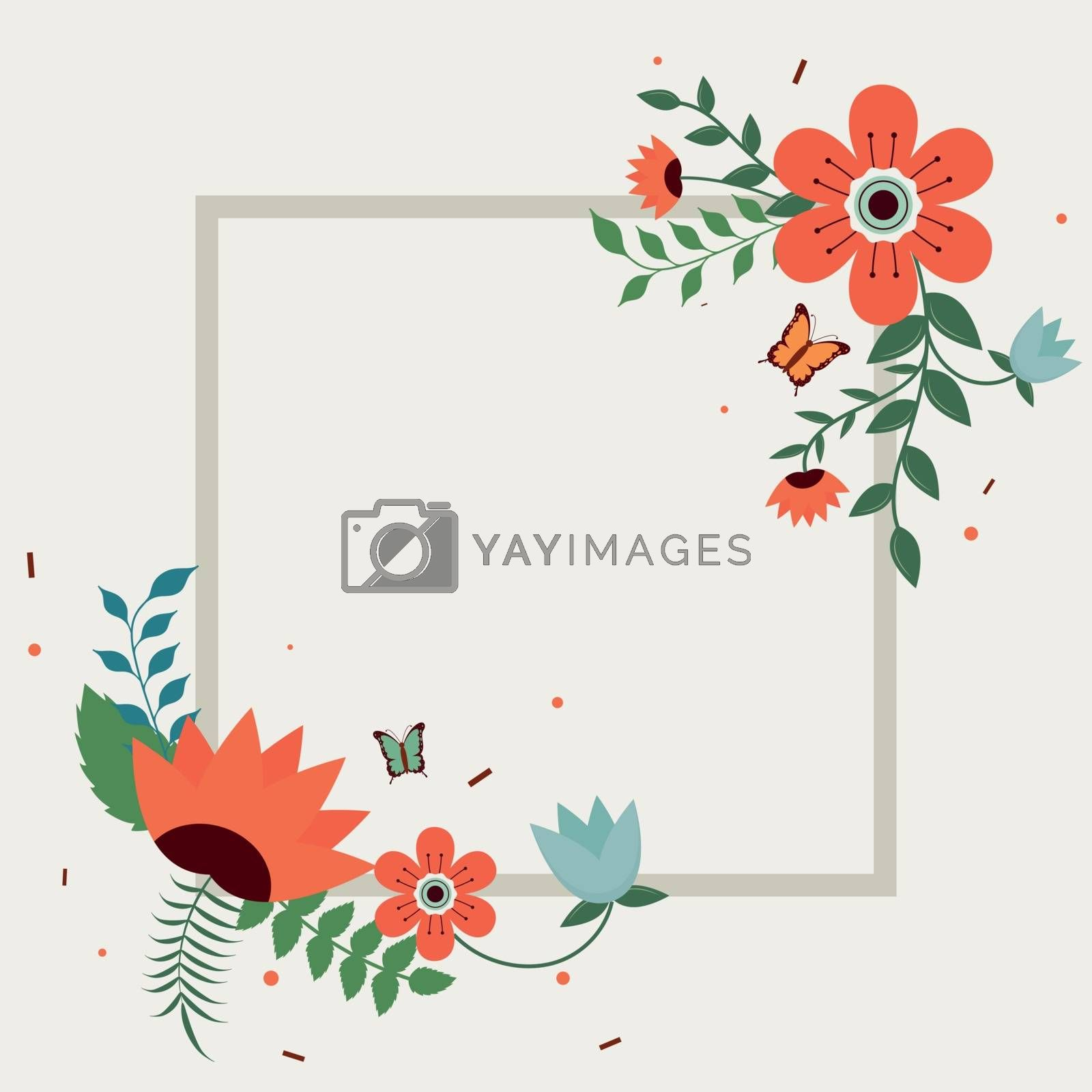 Royalty free image of Flat style beautiful flower decorated background with space for  by aispl