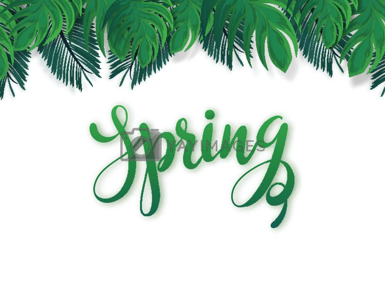 Royalty free image of Calligraphy of Spring on white background decorated with green t by aispl