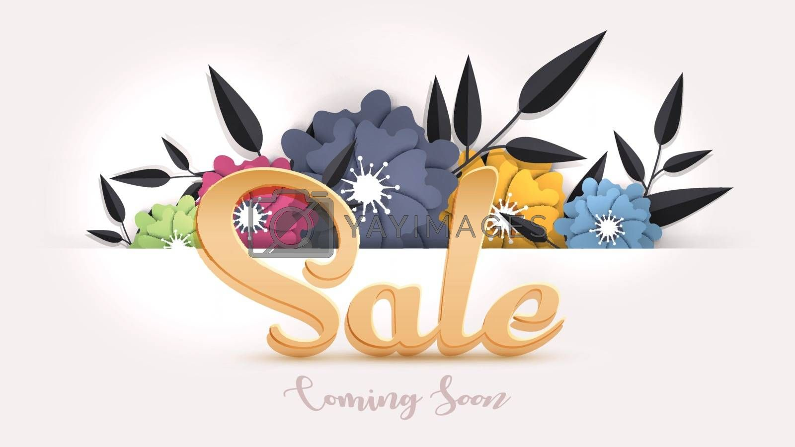 Royalty free image of Sale banner or poster design decorated with paper cut flowers on by aispl