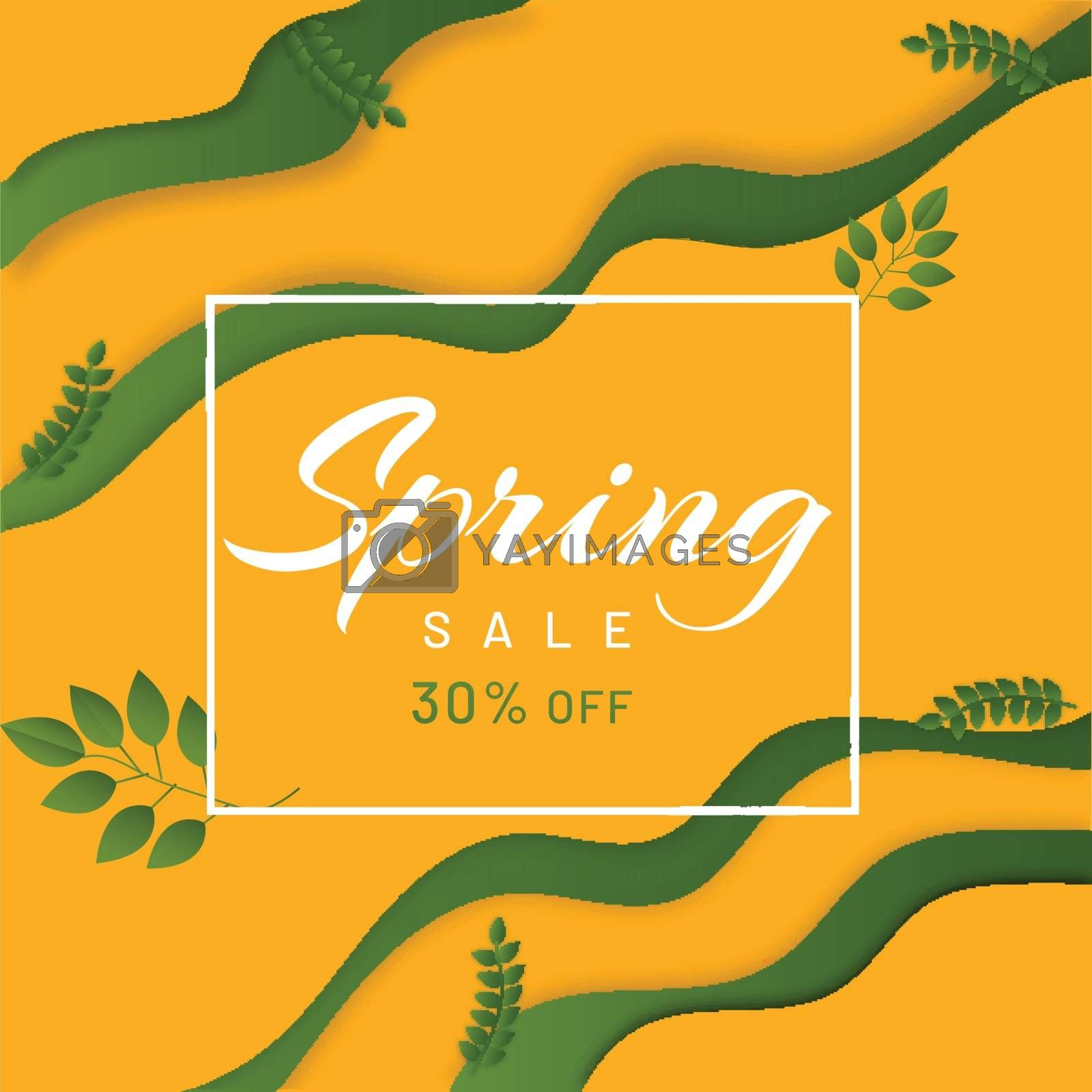 Royalty free image of Paper layer cut background with 30% discount offer for Spring Sa by aispl