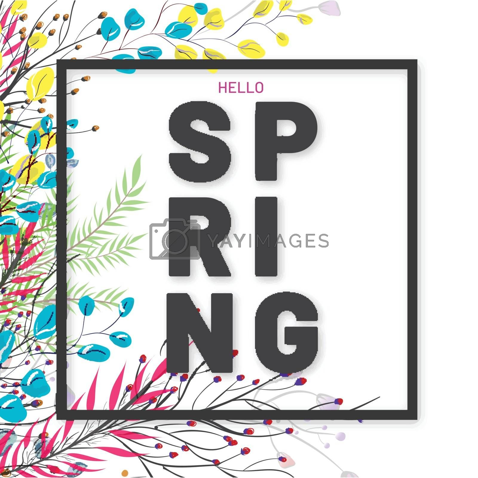 Royalty free image of Hello Spring greeting card design decorated with floral on white by aispl