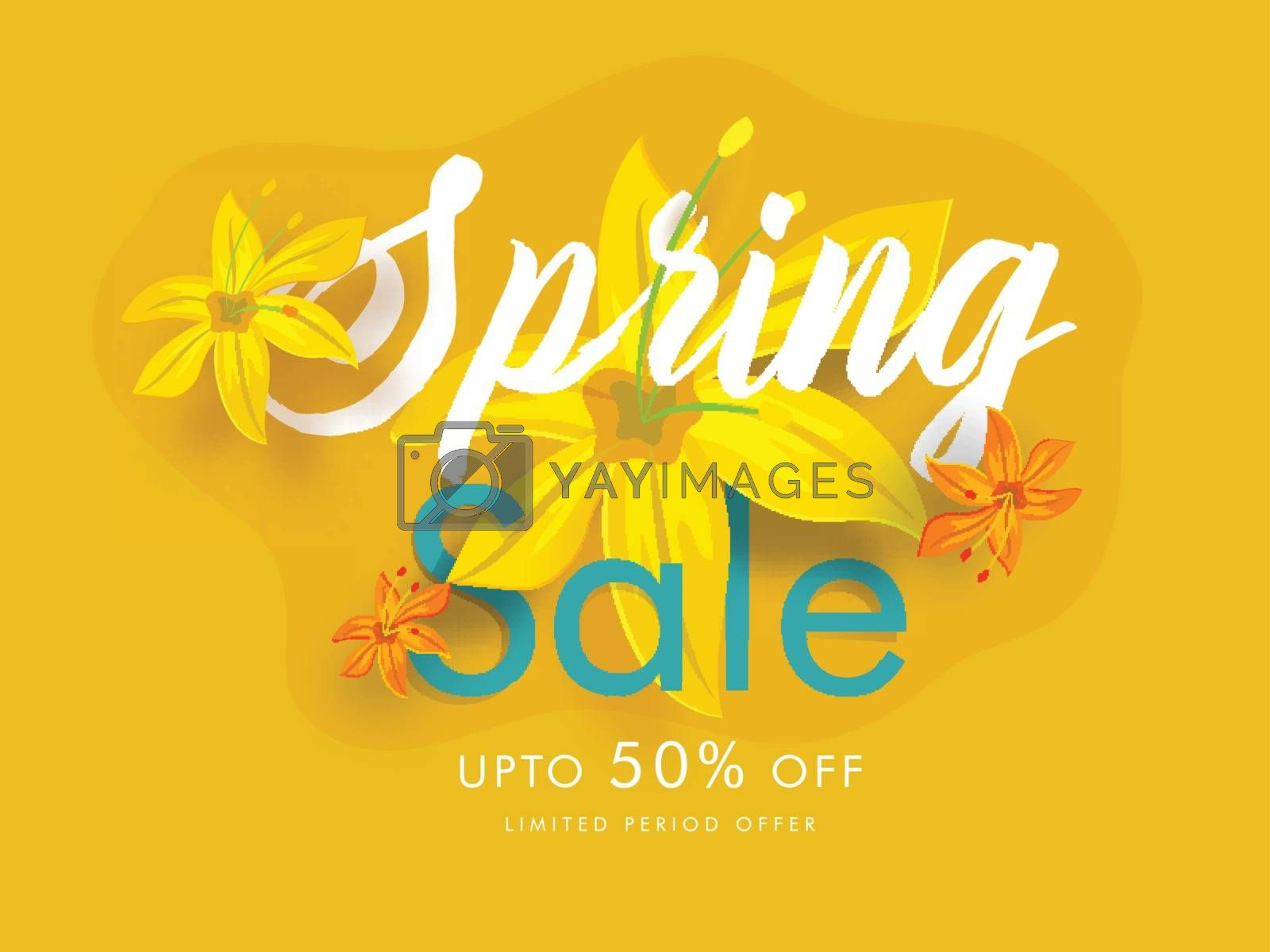 Royalty free image of Beautiful flowers decorated spring sale poster design with 50% d by aispl