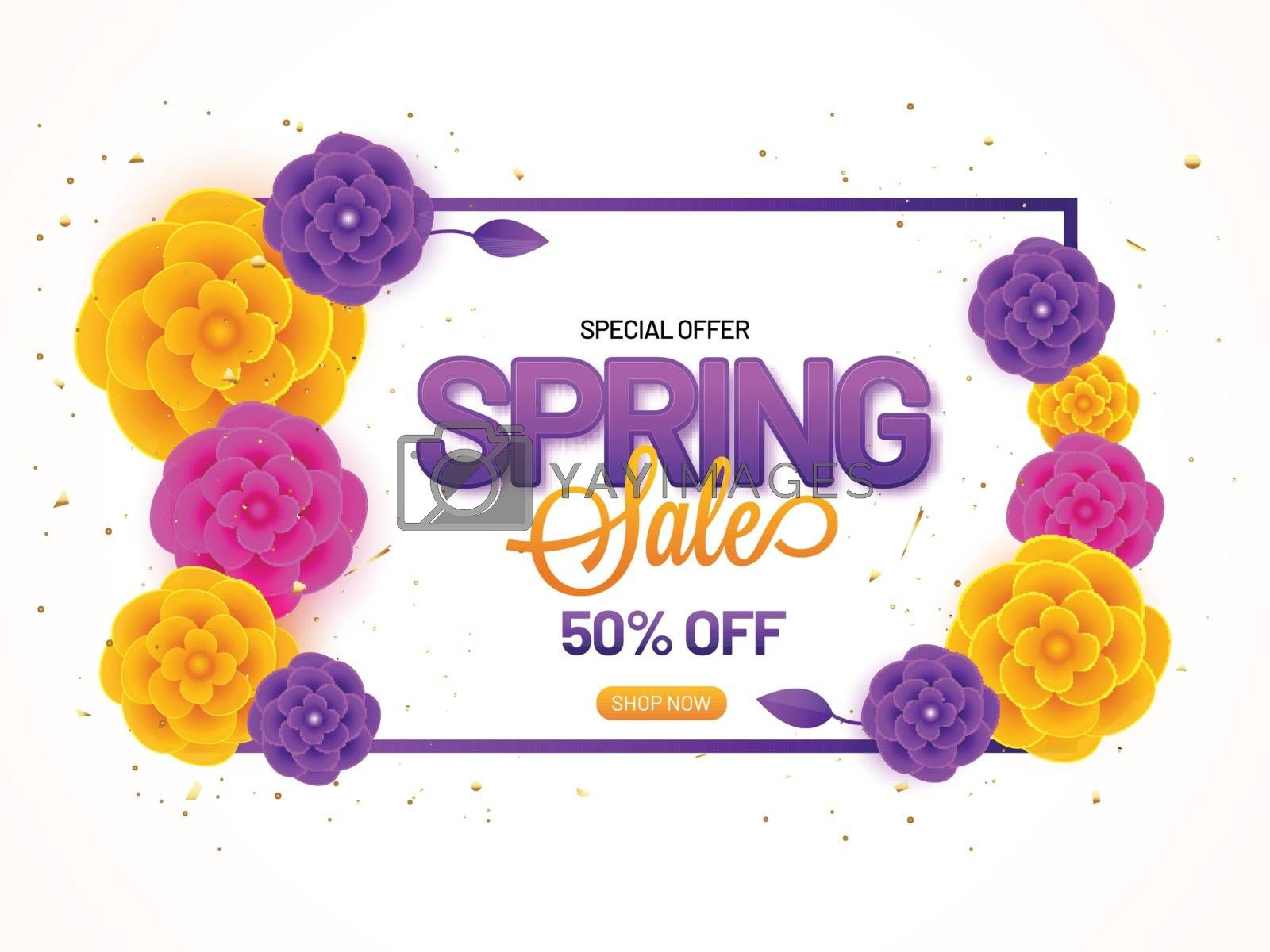 Royalty free image of Spring Sale banner or poster design with 50% discount offer and  by aispl
