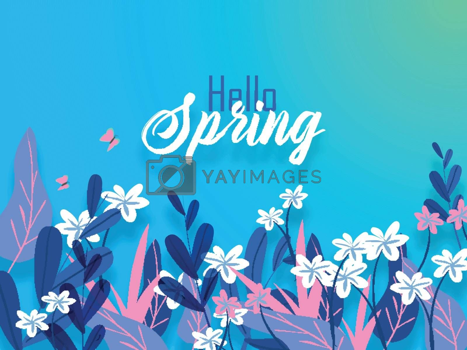 Royalty free image of Hello Spring banner or poster design decorated with flowers and  by aispl