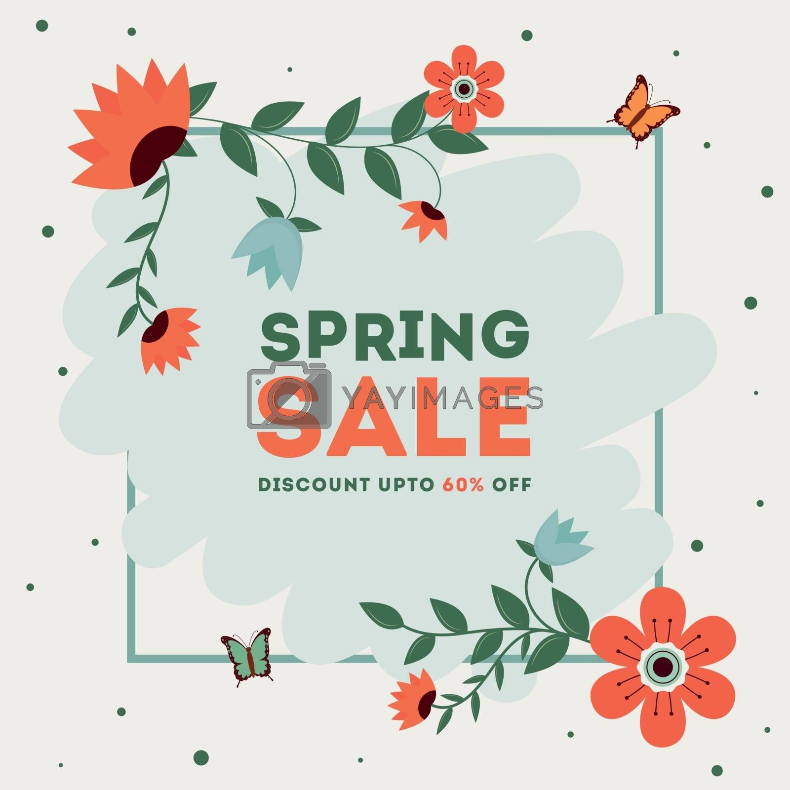 Royalty free image of Spring sale template or poster design with 60% discount offer an by aispl