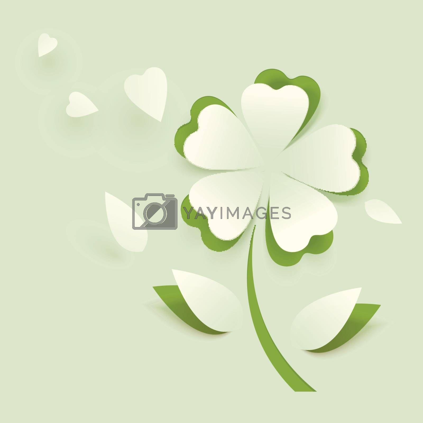 Royalty free image of Paper cut out clover leaf illustration on green background. by aispl
