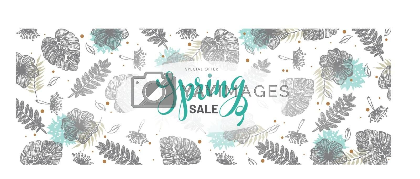 Royalty free image of Spring sale header or banner design decorated with tropical leav by aispl