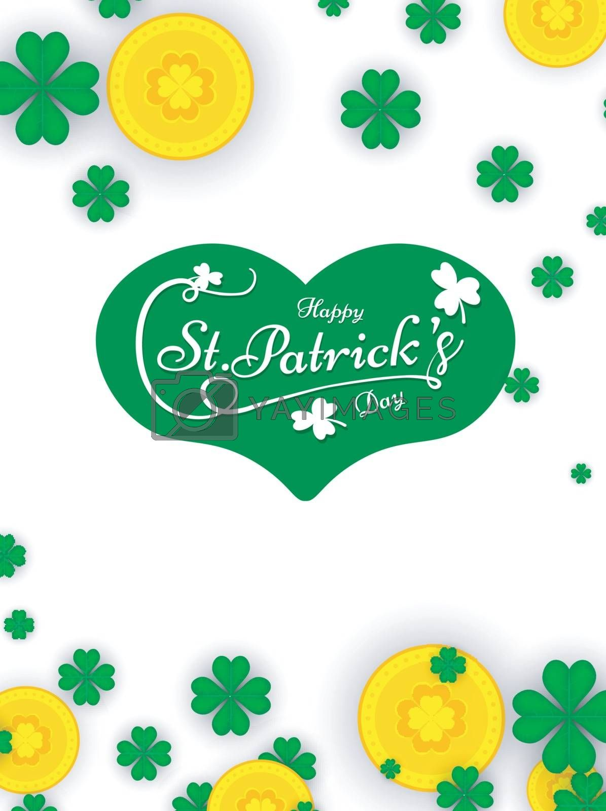 Royalty free image of St Patricks Day greeting card design decorated with gold coins a by aispl