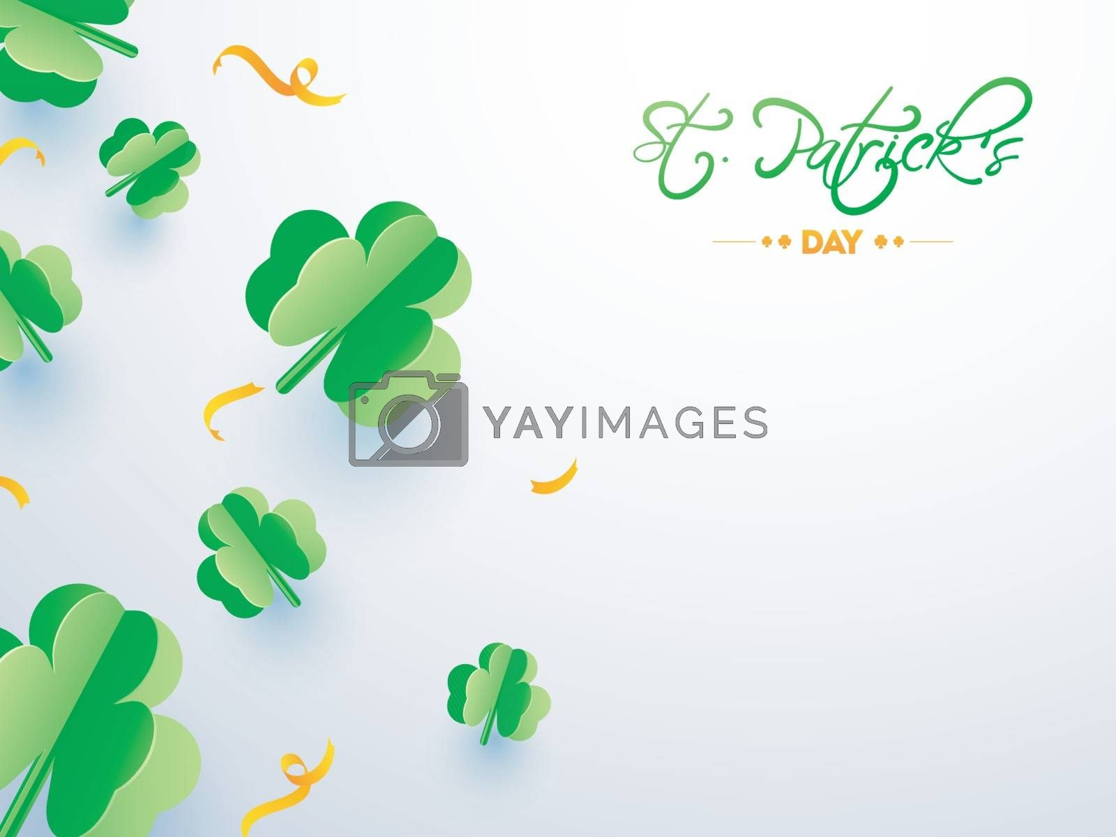 Royalty free image of Paper cut style clover leaves and ribbon on glossy background fo by aispl