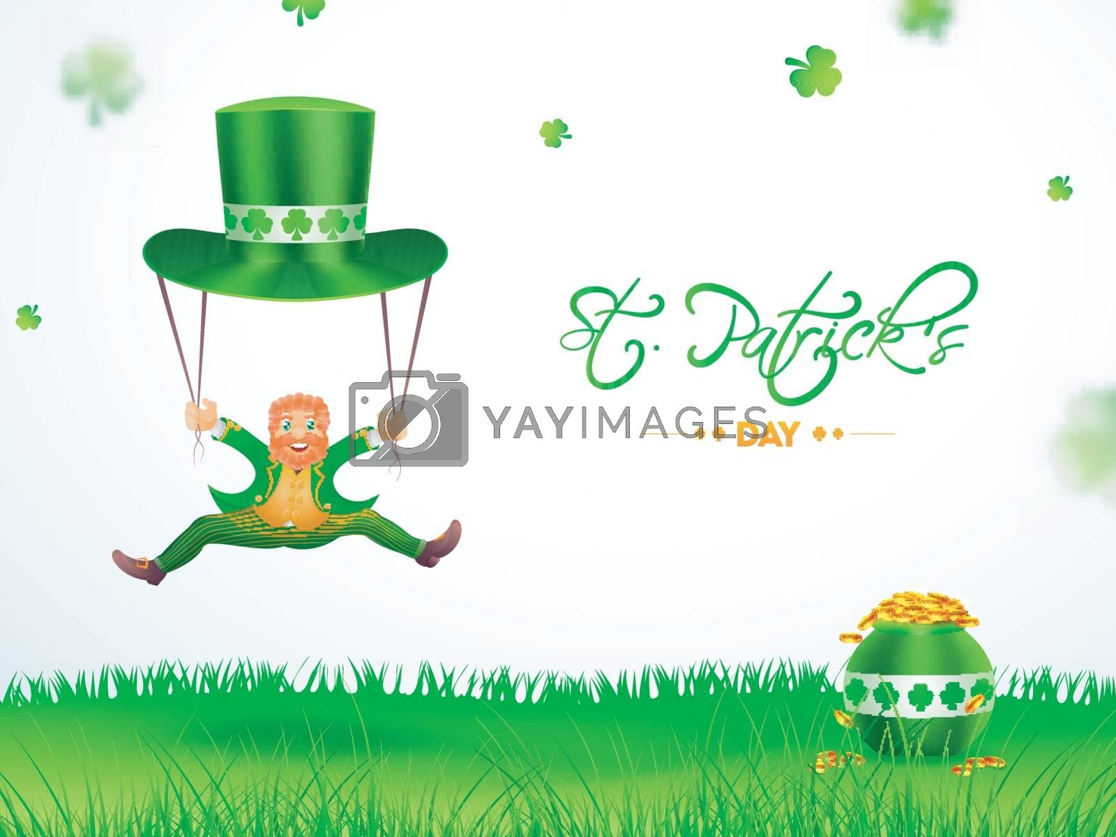 Royalty free image of Happy leprechaun man with hat and cauldron illustration for St P by aispl