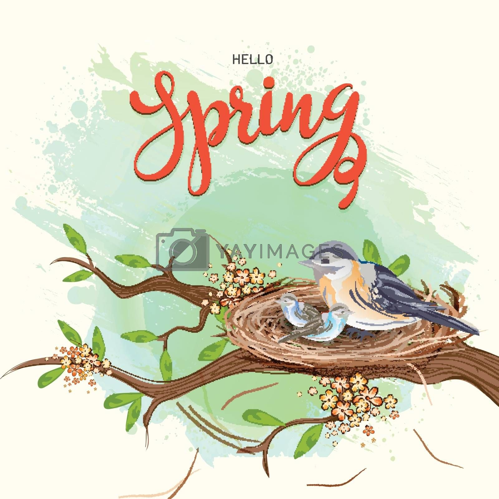 Royalty free image of Hello Spring template or greeting card design with illustration  by aispl