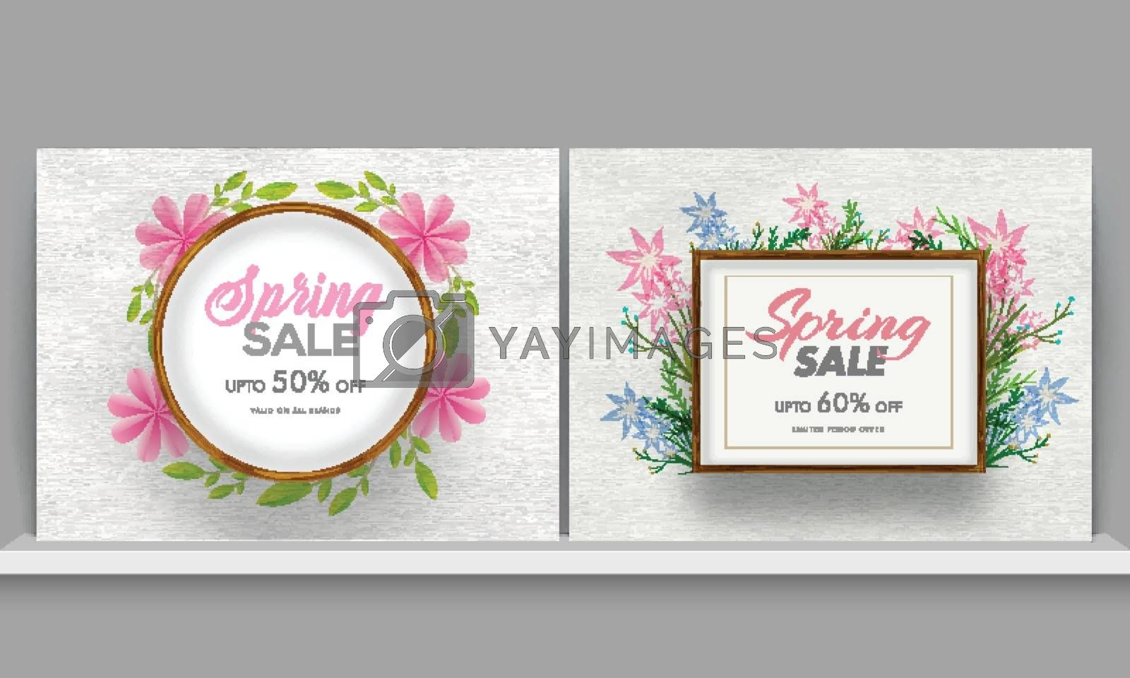 Royalty free image of Spring sale poster or banner set with attractive discount offers by aispl