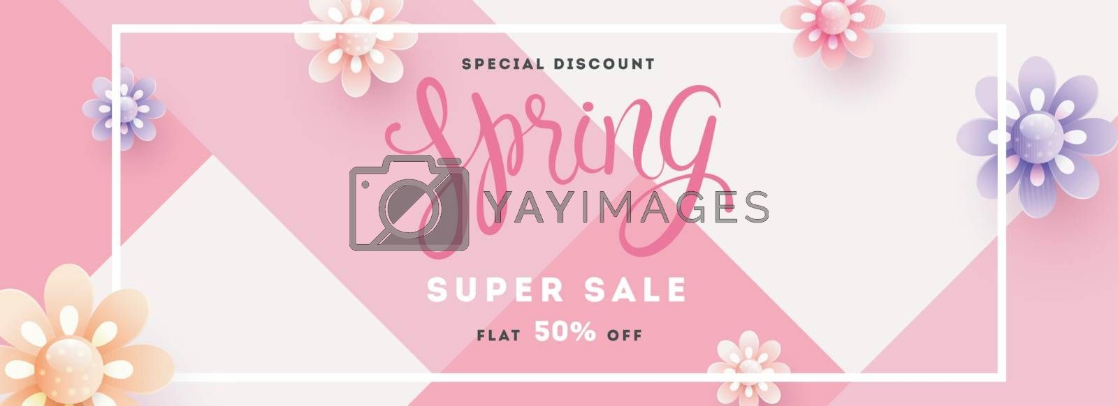 Royalty free image of Spring super sale header or banner design with 50% discount offe by aispl