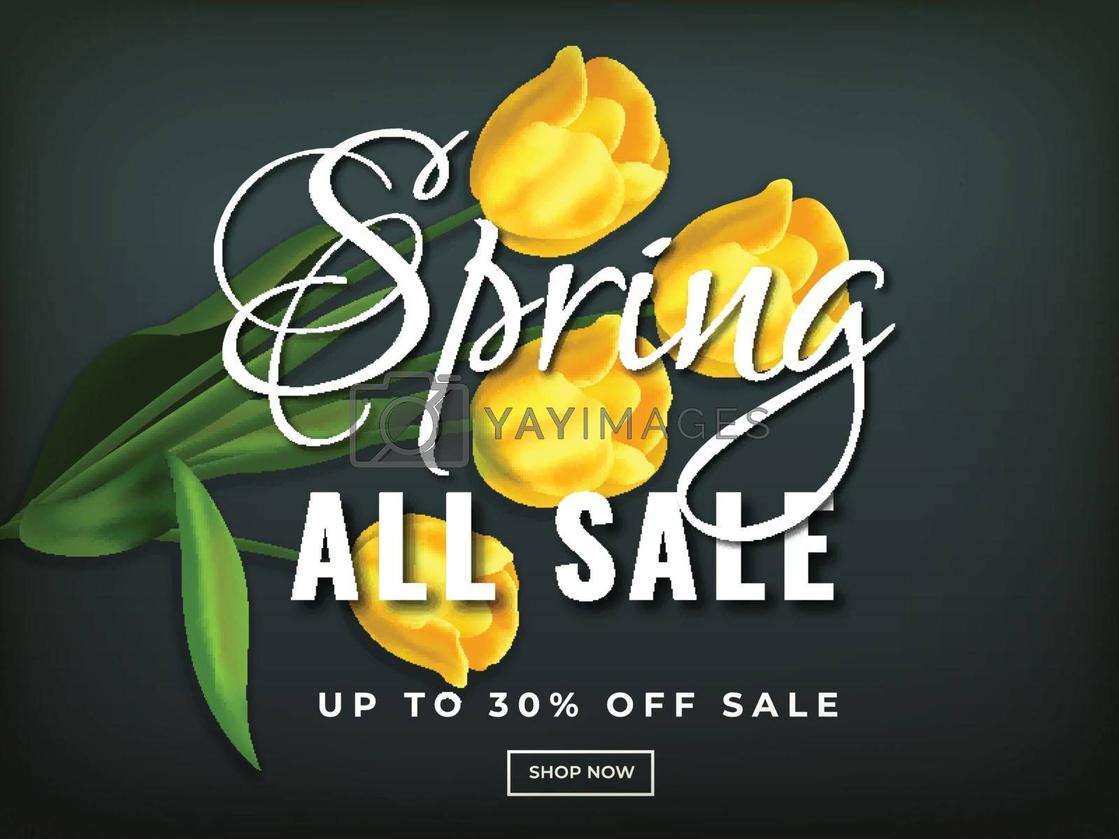 Royalty free image of All spring sale poster or banner design with realistic tulip flo by aispl