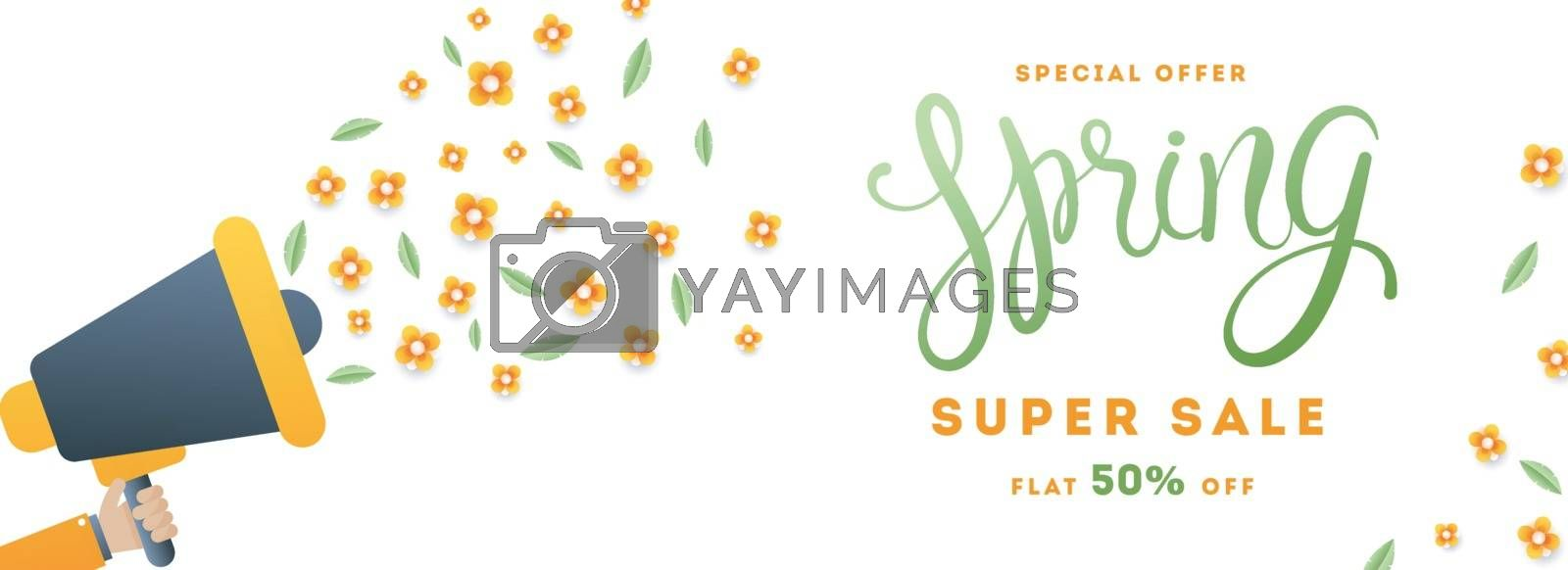 Royalty free image of Super spring sale header or banner design with megaphone and pap by aispl