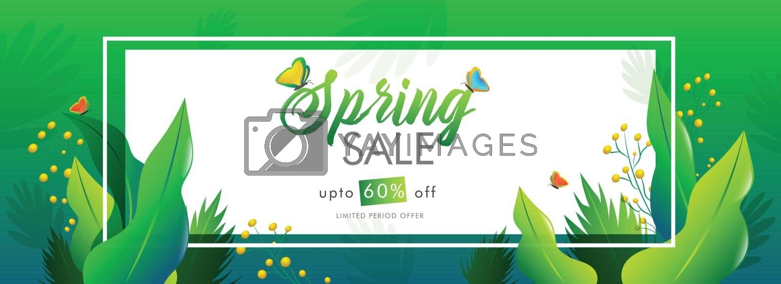 Royalty free image of Spring sale header or banner design with 60% discount offer and  by aispl