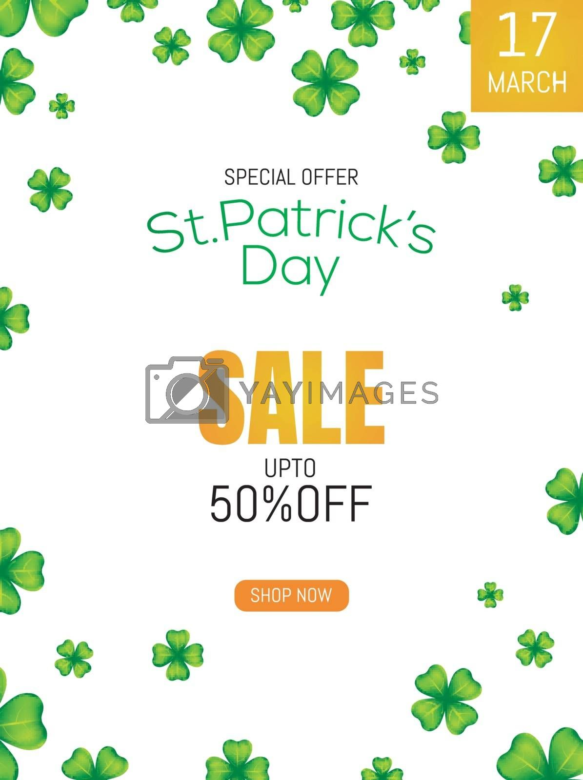 Royalty free image of St Patrick's Day sale template or flyer design with 50% discount by aispl