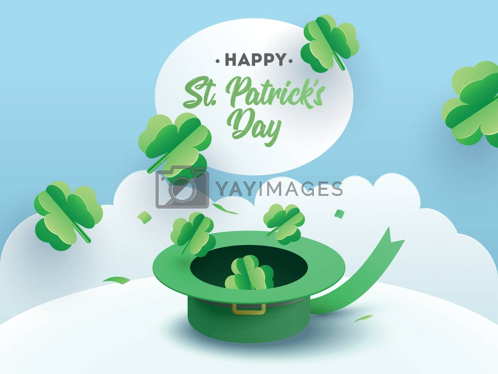 Royalty free image of Paper cut style clover leaves illustration with leprechaun hat f by aispl