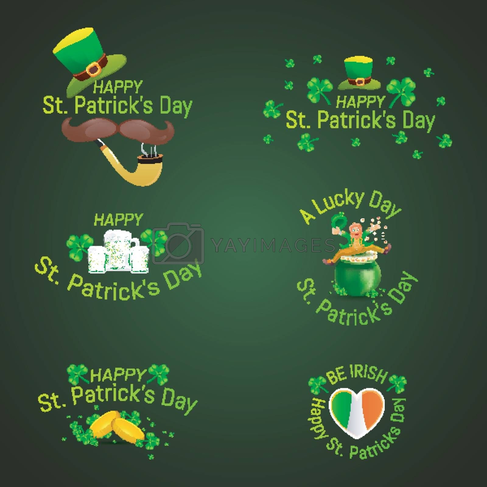 Royalty free image of Set of St. Patrick's Day typography with festival elements on gl by aispl