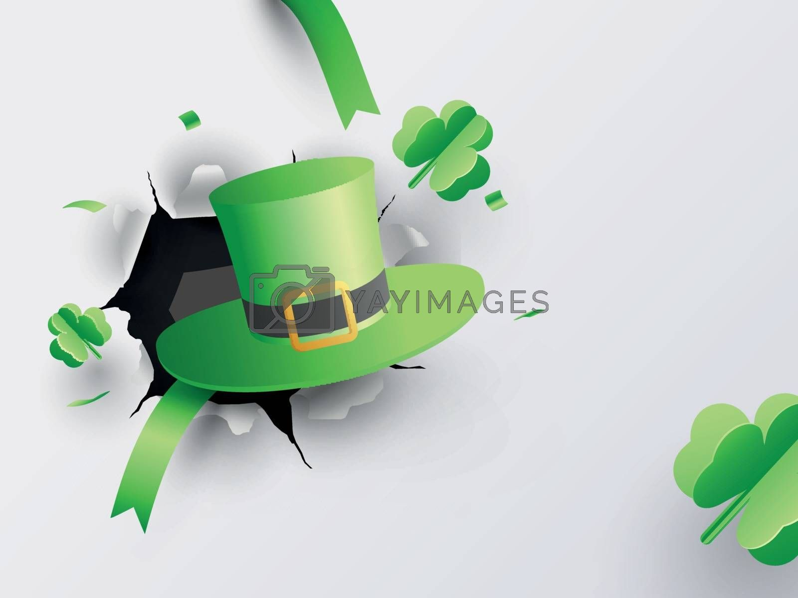 Royalty free image of Illustration of leprechaun hat with paper origami of clover leav by aispl
