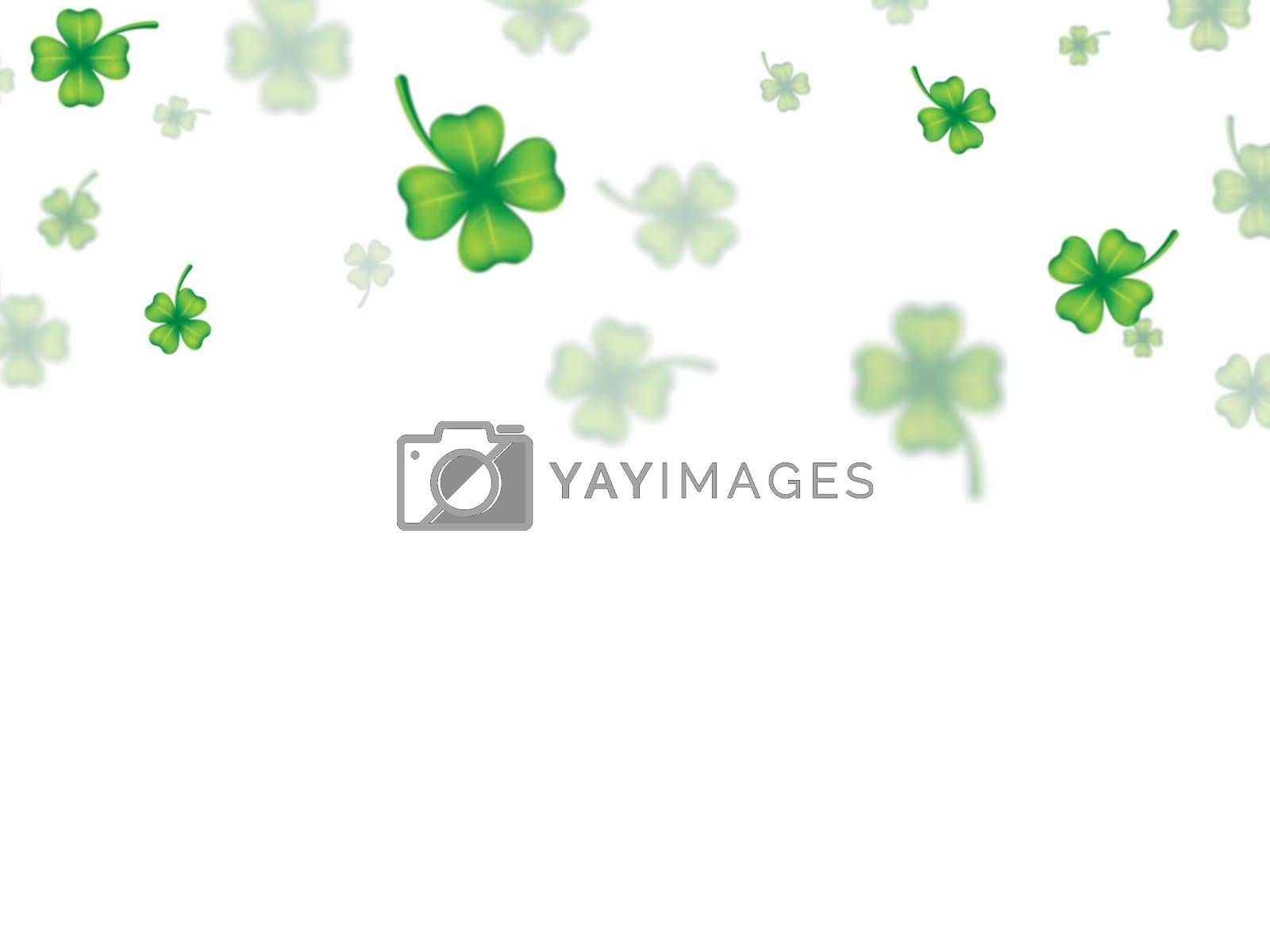 Royalty free image of Green shamrock leaves decorated on white background for St. Patr by aispl