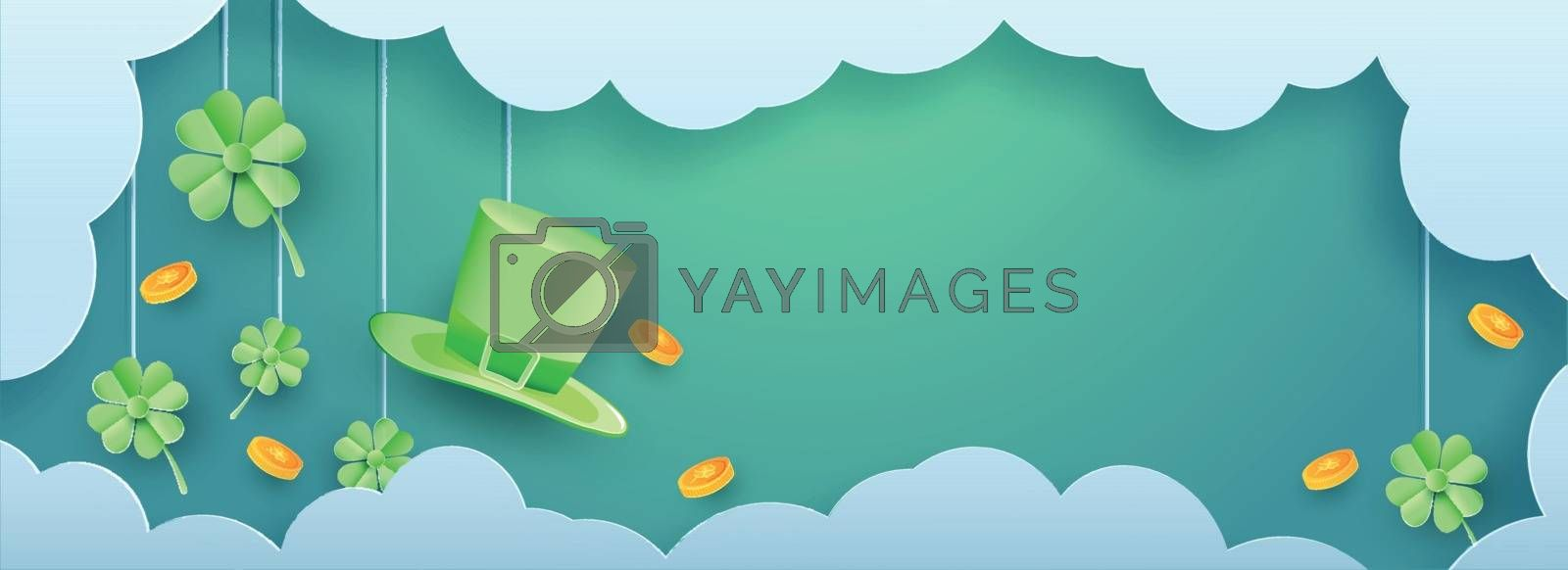 Royalty free image of St Patricks Day header or banner design with leprechaun hat and  by aispl