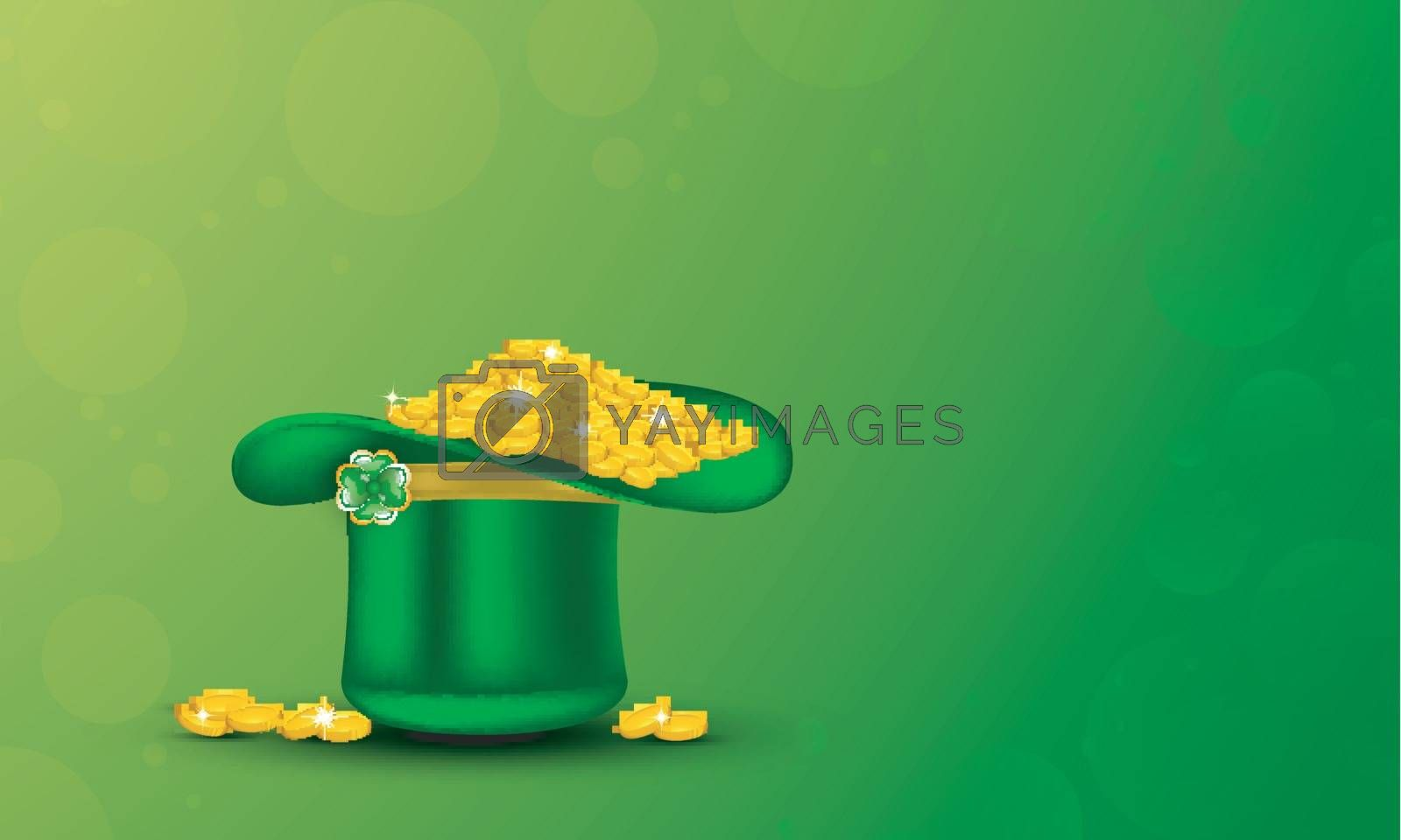 Royalty free image of Green leprechaun hat full of gold coins on glossy green backgrou by aispl