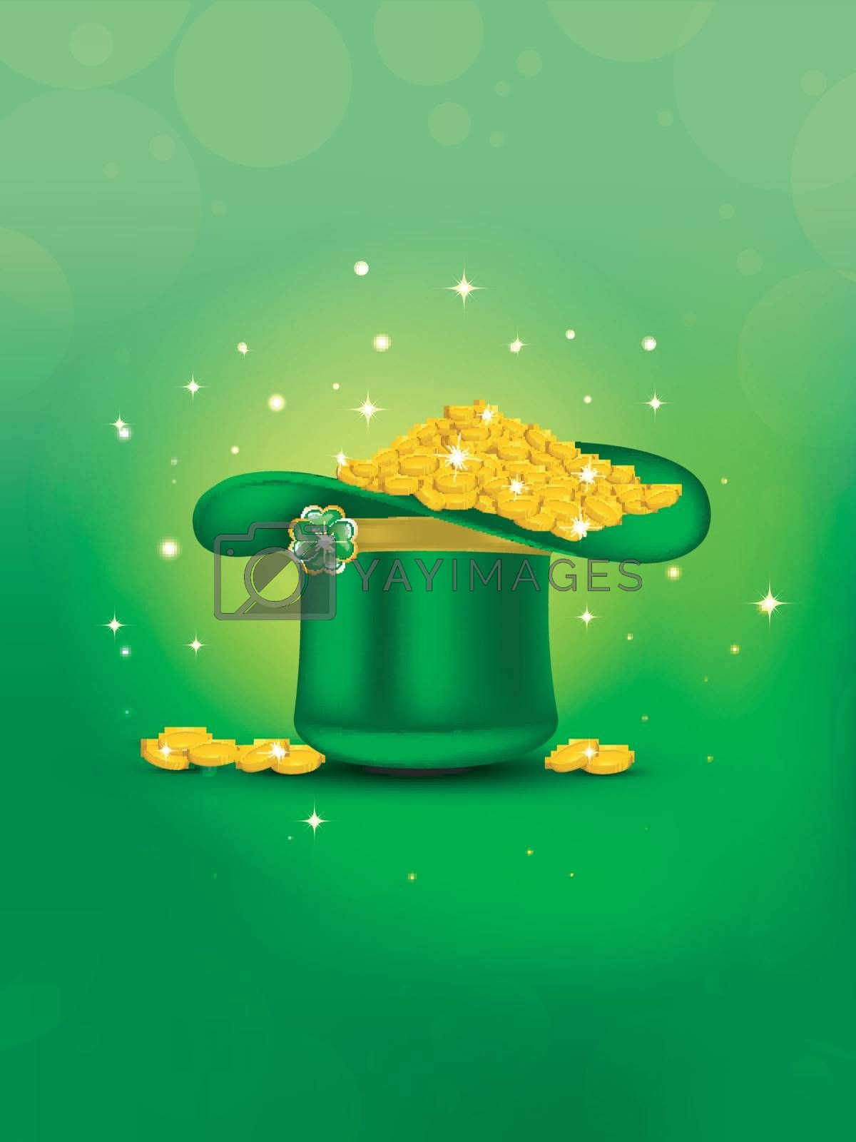 Royalty free image of Green background decorated with tiny shamrock leaves for St. Pat by aispl