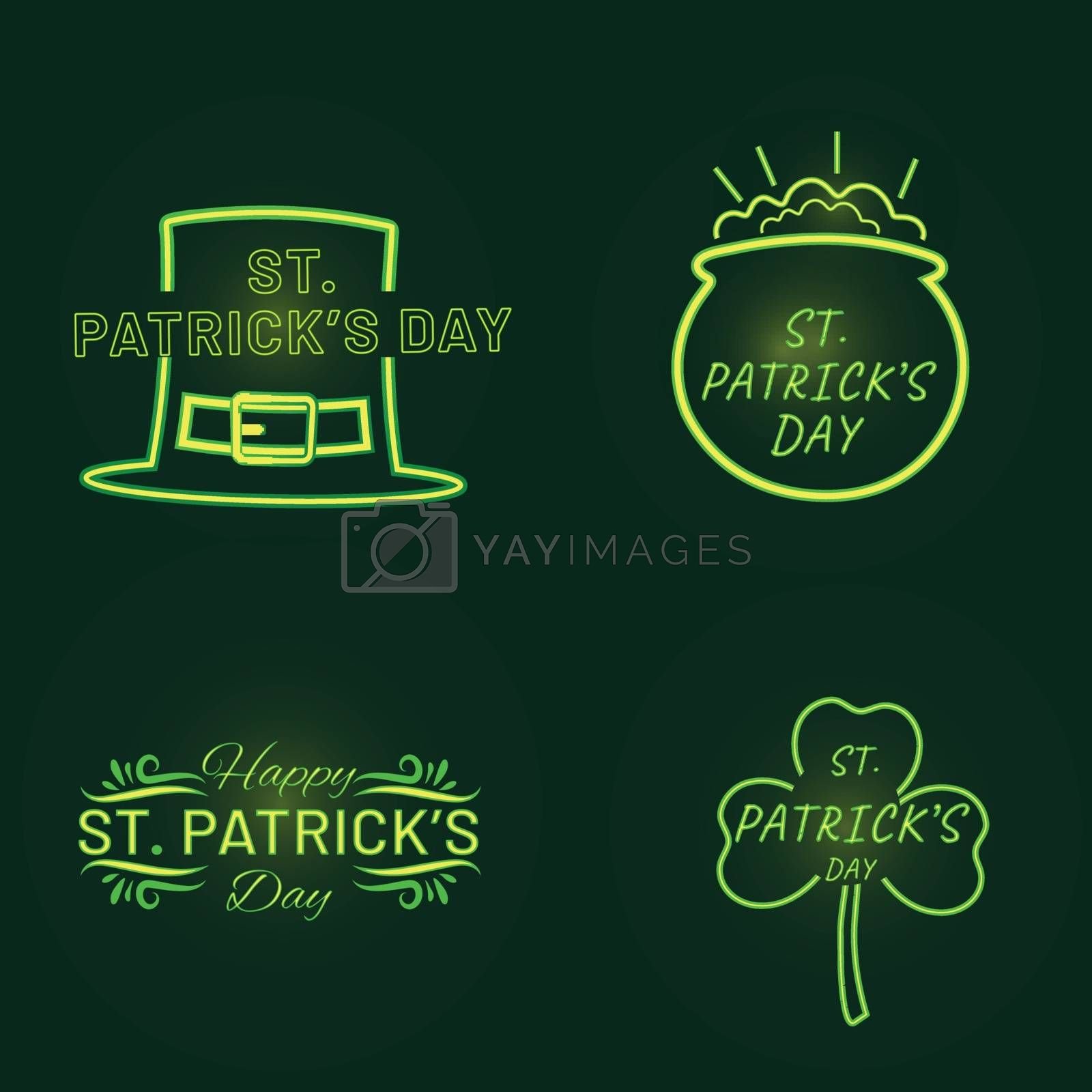 Royalty free image of St. Patrick's Day typography Set with festival elements on black by aispl