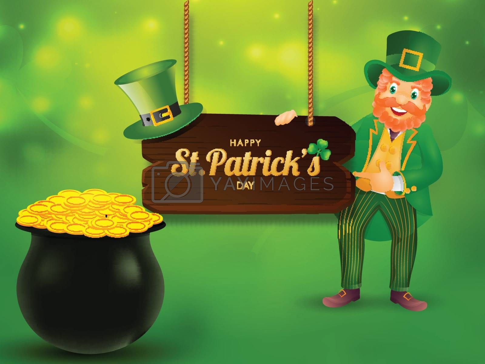Royalty free image of Happy leprechaun man character and coin pot illustration on gree by aispl