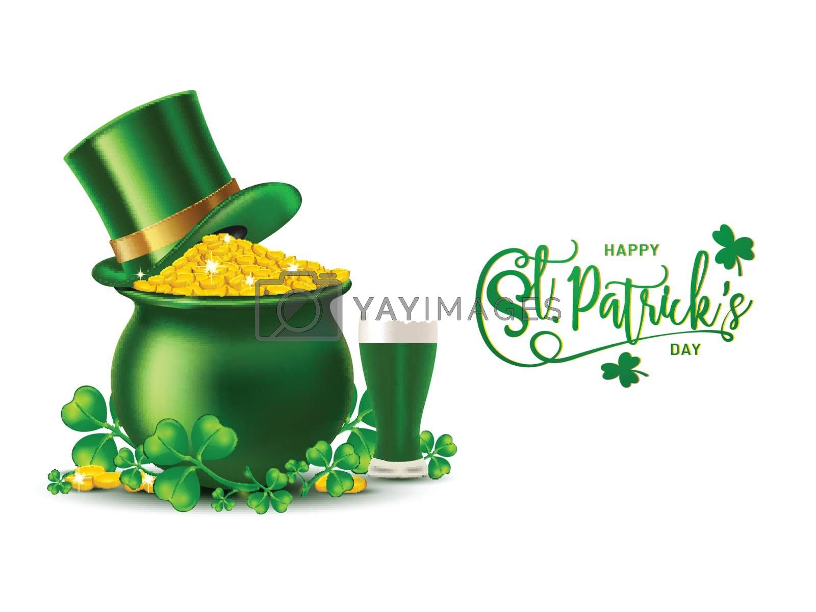 Royalty free image of Glossy green pot full of gold coins with leprechaun hat and beer by aispl