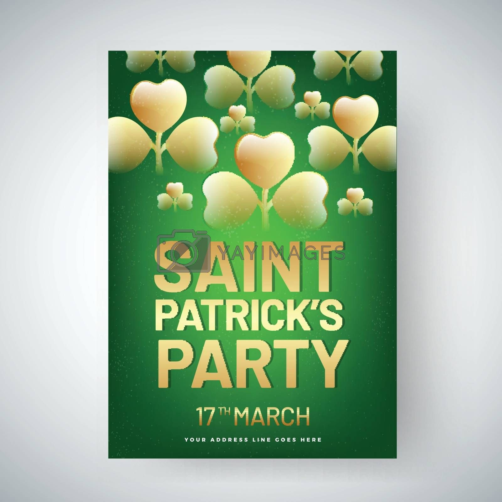 Royalty free image of Golden text Saint Patrick's Day with glossy clover leaves decora by aispl
