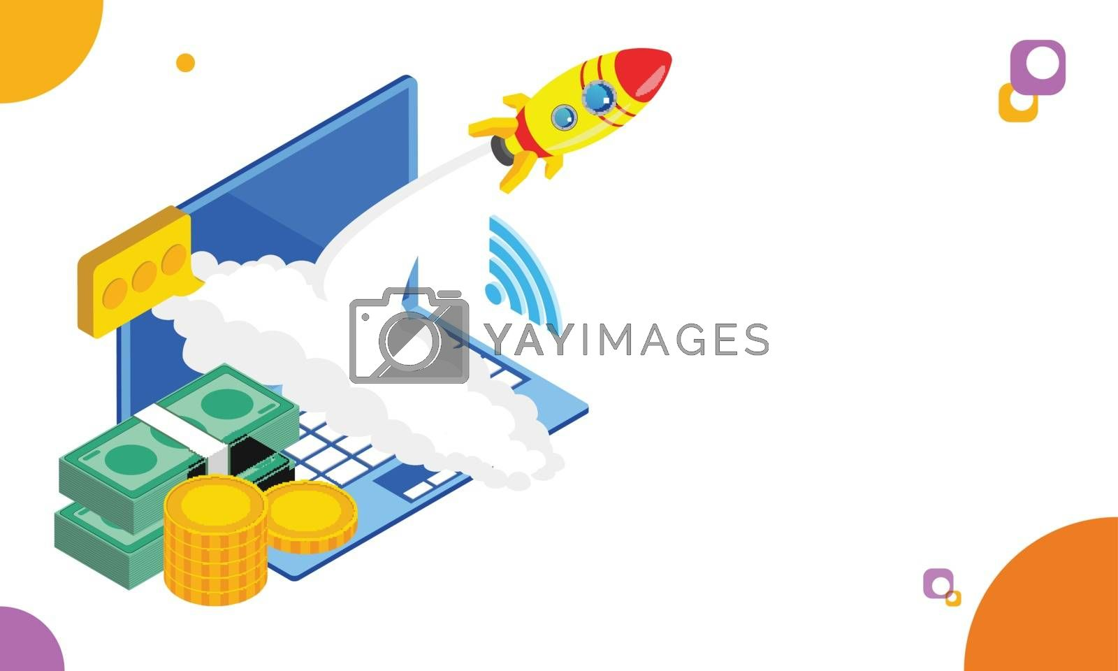 Royalty free image of Isometric laptop with coin stack, money bundle and rocket in lau by aispl
