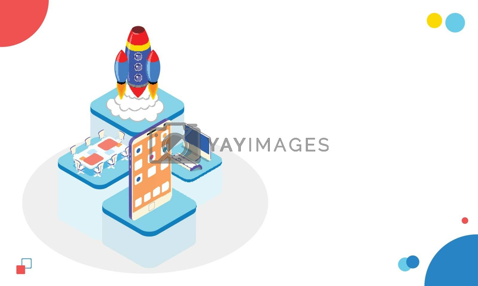 Royalty free image of Business startup concept, isometric smartphone with application, by aispl