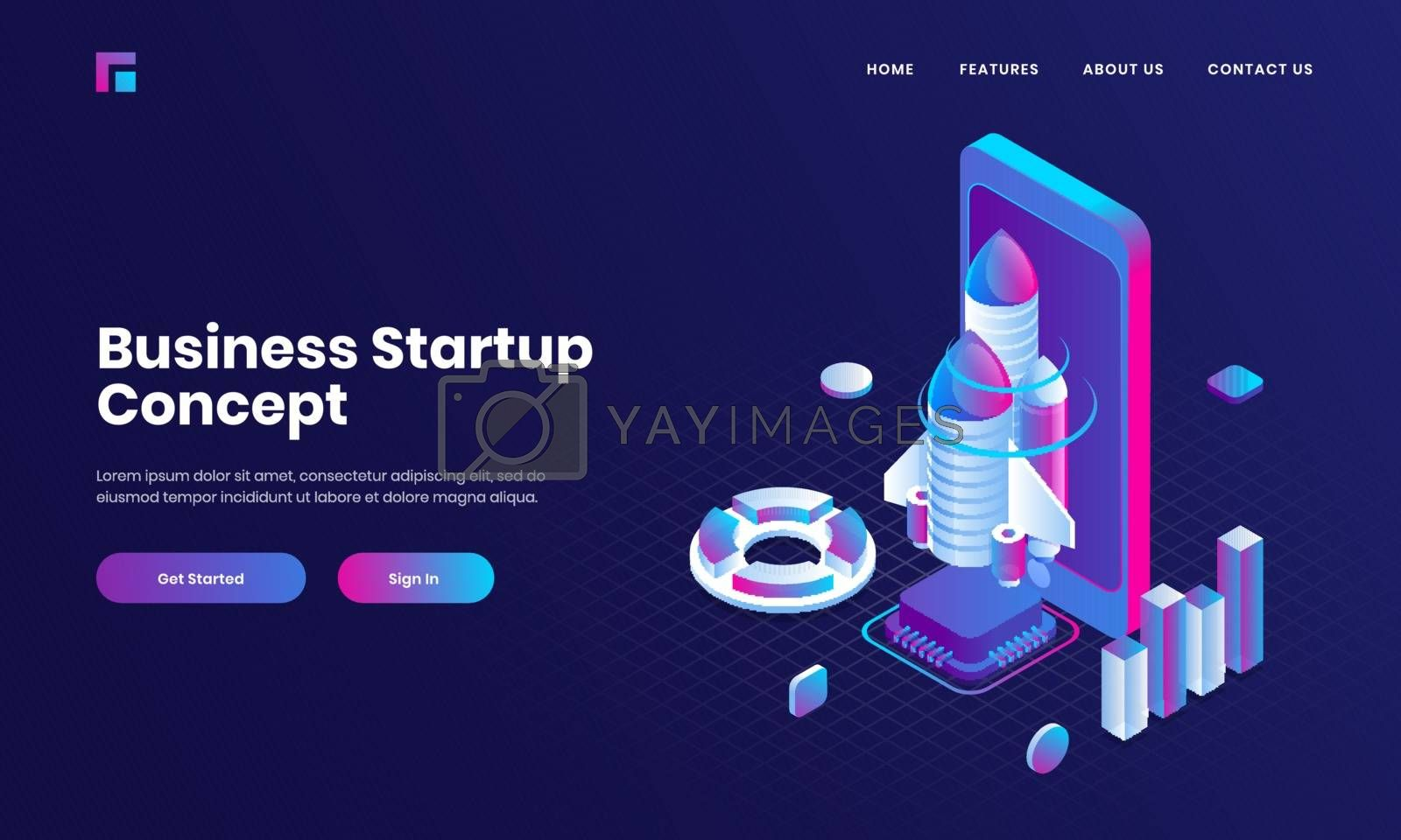 Royalty free image of Purple website poster or landing page design with 3d illustratio by aispl