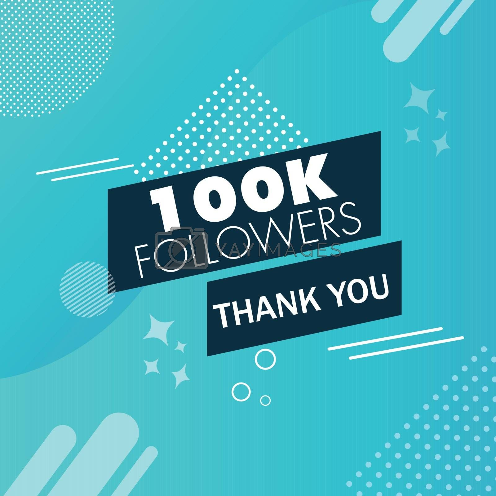 Thank you message for 100K followers on blue abstract background. Can be used as card design.