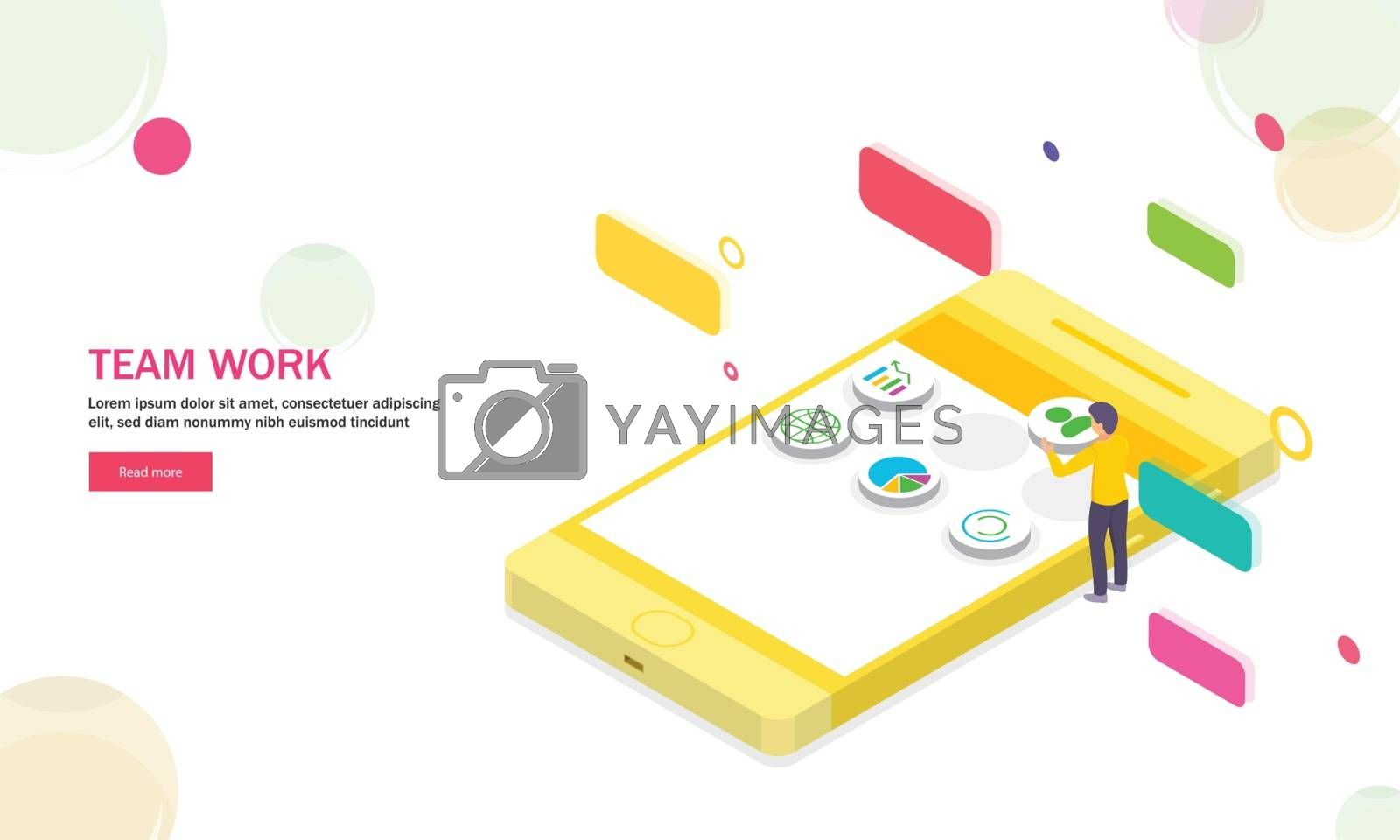 Miniature people maintain mobile data on abstract background. Isometric design for Teamwork concept.