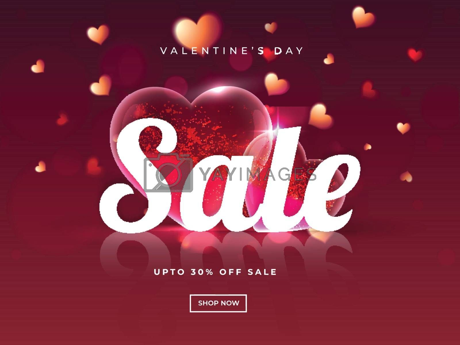 Valentine's Day sale poster or template design with 30% discount offer and decorative heart shapes on glossy red background.