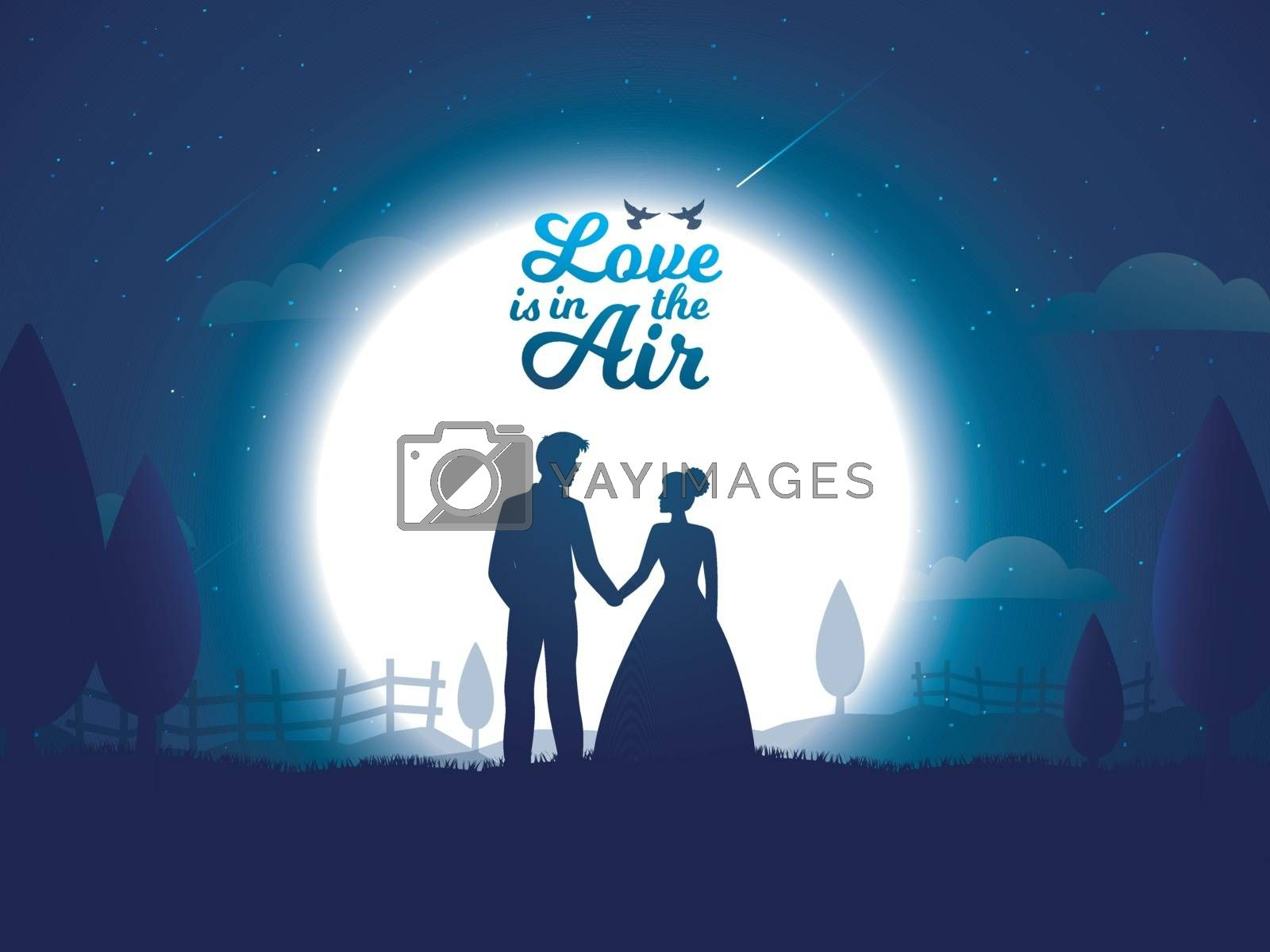 Valentine celebration poster or greeting card design with illustration of loving couple on full moon night background.