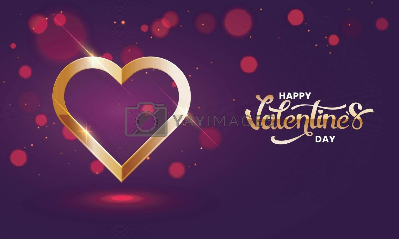 Shiny golden heart shape on purple bokeh background for Valentine's Day celebration greeting card design.